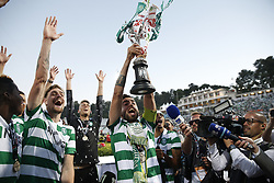 May 25, 2019 - Oeiras, Lisbon, Portugal - Bruno Fernandes of Sporting (C) and Sebastian Coates of Sporting (L)  celebrate  after winning the Portugal Cup Final football match between Sporting CP and FC Porto at Jamor stadium in Oeiras, outskirts of Lisbon, on May 25, 2019. (Credit Image: © Carlos Palma/NurPhoto via ZUMA Press)