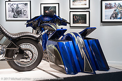 Dustin Maybin's custom all metal bagger in the Old Iron - Young Blood exhibition in the Motorcycles as Art gallery at the Buffalo Chip during the annual Sturgis Black Hills Motorcycle Rally.  SD, USA.  August 10, 2017.  Photography ©2017 Michael Lichter.