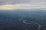 Aerial view of the Mekong River snaking through the Mekong Delta in the Southwestern region of Vietnam, Southeast Asia
