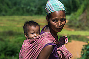 Adi Gallong woman & child<br /> Adi Gallong Tribe<br /> Arunachal Pradesh<br /> North East India