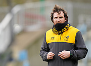 Wasps Attack coach Martin Gleeson puts his players through a warm up before a Gallagher Premiership Round 10 Rugby Union match, Friday, Feb. 20, 2021, in Leicester, United Kingdom. (Steve Flynn/Image of Sport)