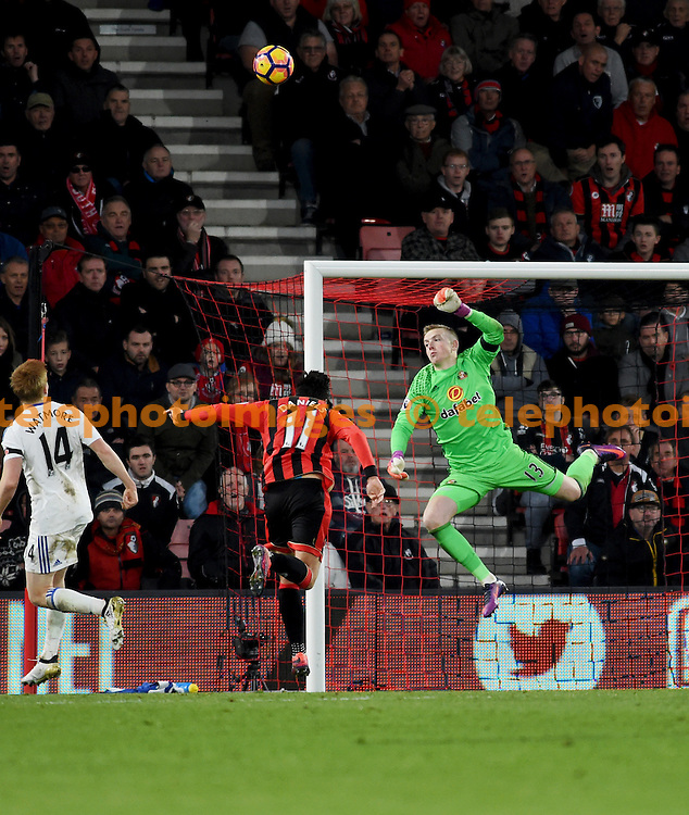 Jordan Pickford of Sunderland makes a great save in the second half  during the Premier League match between AFC Bournemouth and Sunderland AFC at the Vitality Stadium in Bournemouth. November 5, 2016.<br /> Simon  Dack / Telephoto Images<br /> +44 7967 642437
