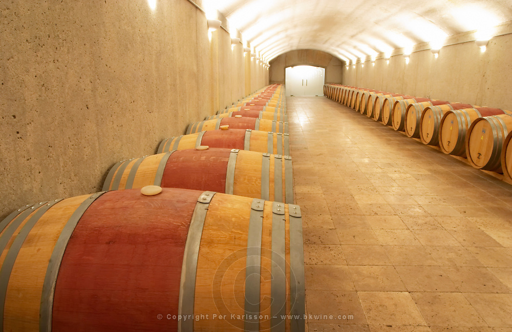Wine aging in barrels. Oak barrel aging and fermentation cellar. Torres Penedes Catalonia Spain