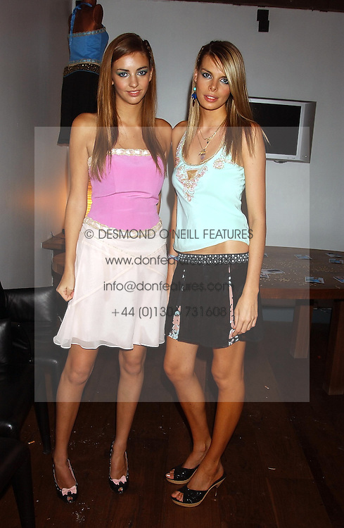 Left to right, MISS ROSE HANBURY and MISS CAMILLA SIMON at a party to view the designs of Jessica Simon at the beginning of London Fashion Week held at The Electric Cinema, Portabello Road, London on 19th September 2004.<br /><br />NON EXCLUSIVE - WORLD RIGHTS