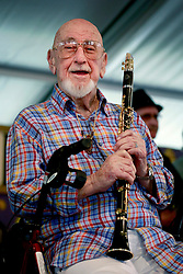 05 May 2013. New Orleans, Louisiana,  USA. .New Orleans Jazz and Heritage Festival. JazzFest..Jazz legend Pete Fountain brings his beautiful clarinet to the Fest..Photo; Charlie Varley.