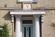 Cookery School sign and doorway, Aldeburgh, Suffolk, England