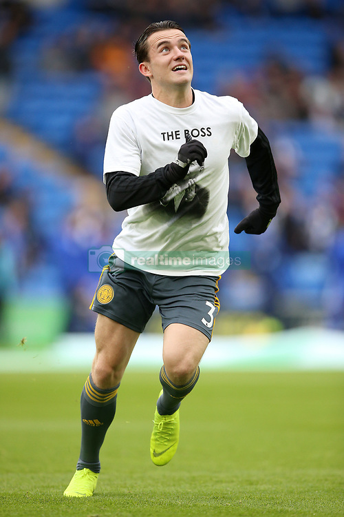 Leicester City's Ben Chilwell warms up in a t shirt in tribute to Vichai Srivaddhanaprabha