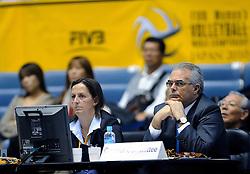 07-11-2010 VOLLEYBAL: WORLD CHAMPIONSHIP: PERU - KOREA: TOKYO<br /> Korea beat Peru with 3-1 / Control Committee Gabrielle van Zwieten and Vicente Araujo<br /> ©2010-WWW.FOTOHOOGENDOORN.NL