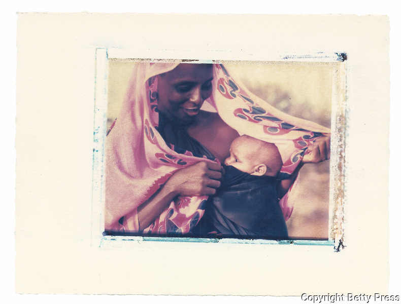 Somali mother protects her child in the desert  Refugee Camp, Kenya<br /> Image size 4x5, Matted 12x10 Edition of 25 <br /> Archival Pigment Print