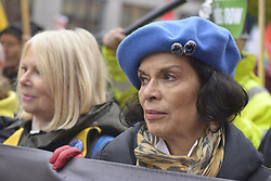 November 12, 2016 - Manchester, England, United Kingdom - Bianca Jagger, environmental campaigner and Chief Executive of the Bianca Jagger Human Right's Foundation, attends a protest against hydraulic fracturing, also known as 'fracking', on November 12, 2016 in Manchester, England. Hydraulic Fracturing is expected to take place in various locations around England, whilst the Northern Irish, Scottish and Welsh Governments has introduced moratoriums on the gas extraction method. Although fracking is a controversial form of energy extraction, due to environmental concerns, fracking is supposed to provide cheaper and more secure energy for the United Kingdom's domestic energy market. (Credit Image: © Jonathan Nicholson/NurPhoto via ZUMA Press)