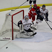 UConn goal tender goal Annie Belanger in action during the UConn Vs Boston University, Women's Ice Hockey game at Mark Edward Freitas Ice Forum, Storrs, Connecticut, USA. 5th December 2015. Photo Tim Clayton