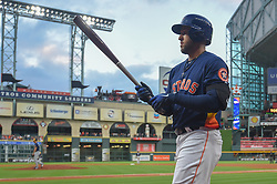 March 26, 2018 - Houston, TX, U.S. - HOUSTON, TX - MARCH 26: Houston Astros outfielder George Springer (4) prepares to bat during the game between the Milwaukee Brewers and Houston Astros at Minute Maid Park on March 26, 2018 in Houston, Texas. (Photo by Ken Murray/Icon Sportswire) (Credit Image: © Ken Murray/Icon SMI via ZUMA Press)