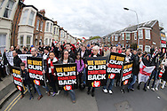 Charlton Athletic fans protesting outside The Valley Stadium before k/o.Skybet football league championship match, Charlton Athletic v Brighton & Hove Albion at The Valley  in London on Saturday 23rd April 2016.<br /> pic by John Patrick Fletcher, Andrew Orchard sports photography.