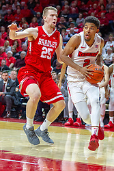 NORMAL, IL - February 16: Zach Copeland hustles into the paint defended by Nate Kennellduring a college basketball game between the ISU Redbirds and the Bradley Braves on February 16 2019 at Redbird Arena in Normal, IL. (Photo by Alan Look)