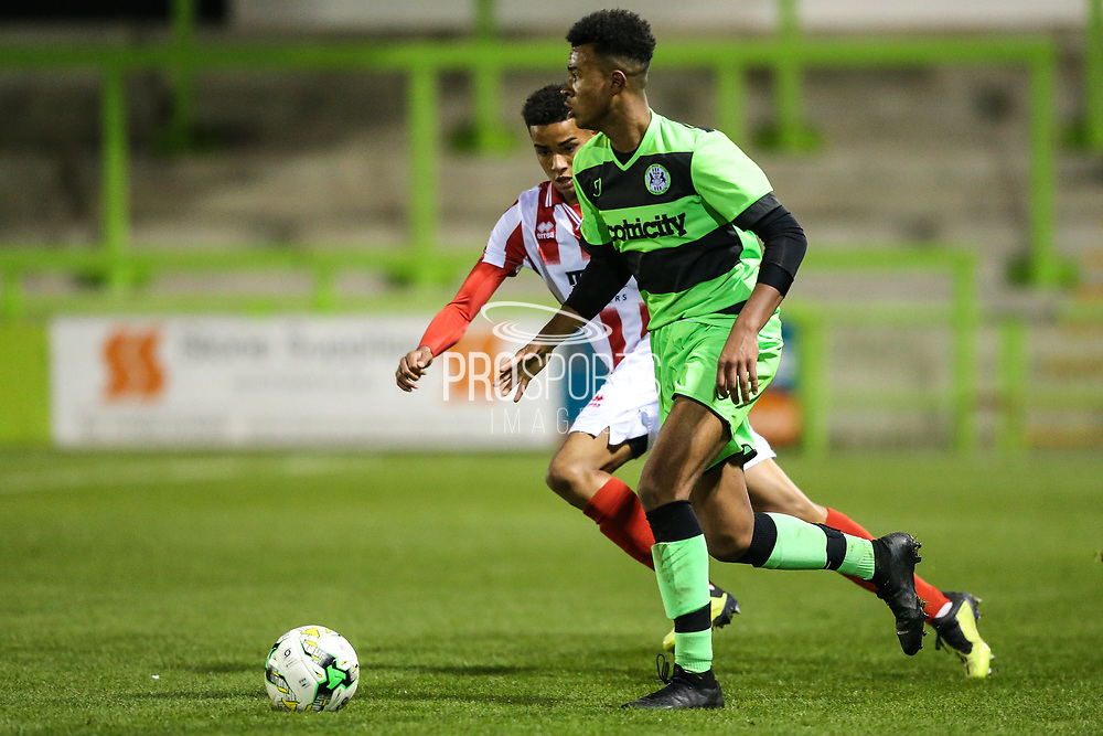 Forest Green Rovers Oliver Artwell(7) during the FA Youth Cup match between U18 Forest Green Rovers and U18 Cheltenham Town at the New Lawn, Forest Green, United Kingdom on 29 October 2018.