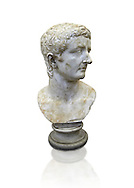 Roman marble sculpture bust of an Tiberius, 30 AD , inv 6052, Museum of Archaeology, Italy