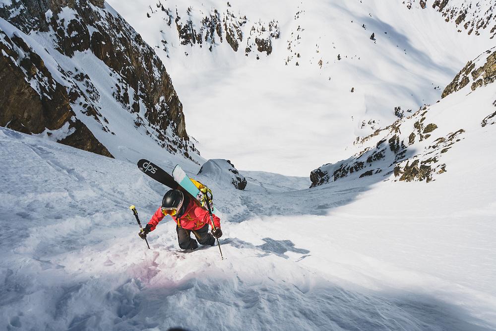 Lani Bruntz boots up the Resurection Couloir, Sawtooth Range, Idaho.