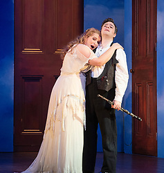 The Magic Flute <br /> Music by Mozart <br /> Welsh National Opera, Wales Millennium Centre, Cardiff, Wales, Great Britain <br /> 13th February 2019 <br /> Directed by Dominic Cooke <br /> <br /> Ben Johnson as Tamino<br /> Anita Watson as Pamina<br /> <br /> Photograph by Elliott Franks