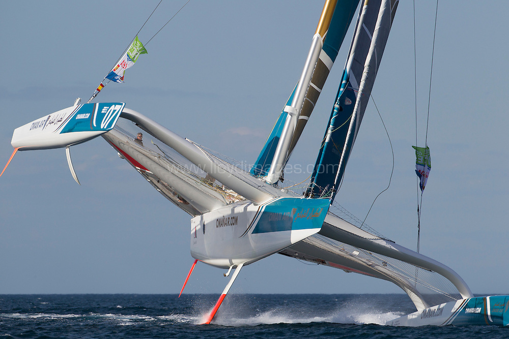 La Route des Princes. Valencia. Spain.<br /> The Oman Air MOD70 in action today,  Skippered by Sidney Gavignet  (FRA) with team mates Thomas LeBreton (FRA), Fahad Al Hasni (OMA), Neal McDonald (GBR),Damian Foxall (IRL), Philip Rivett (AUS), Ahmed Al Hassani (OMA) and Giles Favennec (FRA)<br /> <br /> Credit: Lloyd Images