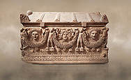 """Picture of Roman relief sculpted Sarcophagus of Garlands, 2nd century AD, Perge. This type of sarcophagus is described as a """"Pamphylia Type Sarcophagus"""". It is known that these sarcophagi garlanded tombs originated in Perge and manufactured in the sculptural workshops of Perge. Antalya Archaeology Museum, Turkey.. Against a warm art background.<br /> <br /> If you prefer to buy from our ALAMY STOCK LIBRARY page at https://www.alamy.com/portfolio/paul-williams-funkystock/greco-roman-sculptures.html . Type -    Antalya    - into LOWER SEARCH WITHIN GALLERY box - Refine search by adding a subject, place, background colour, etc.<br /> <br /> Visit our ROMAN WORLD PHOTO COLLECTIONS for more photos to download or buy as wall art prints https://funkystock.photoshelter.com/gallery-collection/The-Romans-Art-Artefacts-Antiquities-Historic-Sites-Pictures-Images/C0000r2uLJJo9_s0"""