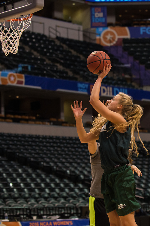 April 2, 2016; Indianapolis, Ind.; Alysha Devine puts up a shot during their practice session at Bankers Life Fieldhouse.