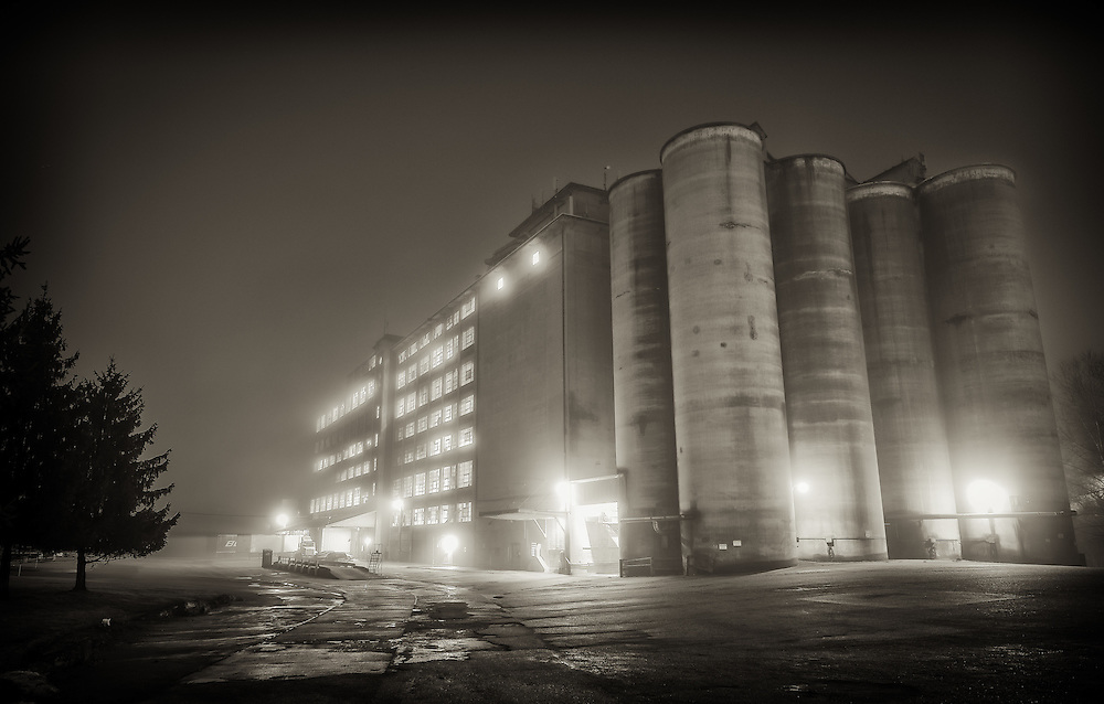Wilkins Rogers Mills in Historic Ellicott City, Maryland, at night.