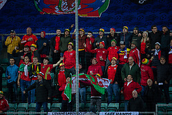 TALLINN, ESTONIA - Monday, October 11, 2021: Wales supporters sing the national anthem before the FIFA World Cup Qatar 2022 Qualifying Group E match between Estonia and Wales at the A. Le Coq Arena. Wales won 1-0. (Pic by David Rawcliffe/Propaganda)