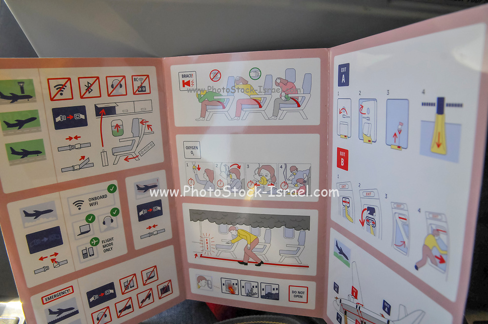 Safety manual in the Interior of the cabin of a Travel Service Airlines (Czech Republic) Boeing 737-800