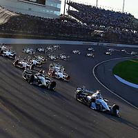 17-18 July, 2015, Newton, Iowa USA<br /> Helio Castroneves leads at the start<br /> ©2015, Phillip Abbott<br /> LAT Photo USA