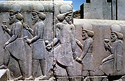 Relief carving on the stairway to the Royal Audience Hall of Darius I (548-486 BC) king of Persia. Subjects bringing tribute and gifts. Persepolis.