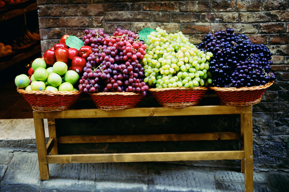 Fruit stand outside a grocery store in Siena, Italy.
