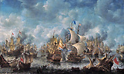 The Battle of Terheide by Jan Abrahamsz Beerstraten (1622-1666) oil on canvas, - 1653-1666.  Between 1652 and 1674, three naval wars were fought with England - the so-called Anglo-Dutch Wars.  This painting represents the Battle of Terheide on 10 August 1653.  In the centre is the largest vessel in the Dutch fleet, the Brederode, commanded by Admiral Maerten Harpertsz Tromp.  It is firing its cannons at an English ship.  The Dutch Republic won the battle but lost its commander Tromp, who was fatally wounded.