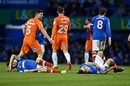 Portsmouth Midfielder, Ben Close (33) and Portsmouth Midfielder, Matty Kennedy (11) collied  during the EFL Sky Bet League 1 match between Portsmouth and Northampton Town at Fratton Park, Portsmouth, England on 30 December 2017. Photo by Adam Rivers.