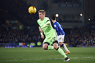 Kevin De Bruyne of Manchester City in action. Capital one cup semi final 1st leg match, Everton v Manchester city at Goodison Park in Liverpool on Wednesday 6th January 2016.<br /> pic by Chris Stading, Andrew Orchard sports photography.