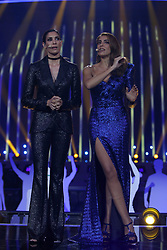 May 7, 2018 - Lisbon, Portugal - Portuguese hosts Catarina Furtado (R ) and Daniela Ruah (L ) during the Dress Rehearsal of the first Semi-Final of the 2018 Eurovision Song Contest, at the Altice Arena in Lisbon, Portugal on May 7, 2018. (Credit Image: © Pedro Fiuza/NurPhoto via ZUMA Press)