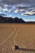 """The Racetrack, is a scenic dry lake feature with moving stones that leave linear """"racetrack"""" imprints. This rock appears like it made a u-turn.."""