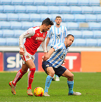 Coventry City's Joe Cole  vies for possession with Fleetwood Town's Antoni Sarcevic<br /> <br /> Photographer Andrew Vaughan/CameraSport<br /> <br /> Football - The Football League Sky Bet League One - Coventry City v Fleetwood Town - Saturday 27th February 2016 - Ricoh Stadium - Coventry   <br /> <br /> © CameraSport - 43 Linden Ave. Countesthorpe. Leicester. England. LE8 5PG - Tel: +44 (0) 116 277 4147 - admin@camerasport.com - www.camerasport.com