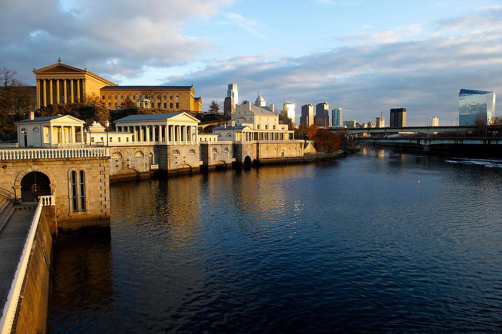 Late afternoon light illuminates The Philadelphia Museum of Art and Water Works in Philadelphia.
