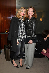 """Left to right, KIM HERSOV and MELISSA KNATCHBULL at a private screening Of """"The Gun, The Cake and The Butterfly"""" hosted by Amanda Eliasch at The Bulgari Hotel, 171 Knightsbridge, London on 24th March 2014."""