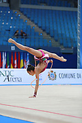 "Ayupova Ekaterina during rope routine at the International Tournament of rhythmic gymnastics ""Città di Pesaro"", 01 April, 2016. Ekaterina is a Russian individualistic gymnast, born on August 31, 2002 in St. Petersburg.<br />
