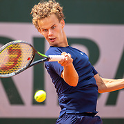 PARIS, FRANCE June 12. Luca Van Assche of France in action against Arthur Fils of France during the final of the Boys' Junior Singles competition at the 2021 French Open Tennis Tournament at Roland Garros on June 12th 2021 in Paris, France. (Photo by Tim Clayton/Corbis via Getty Images)