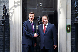 © licensed to London News Pictures. London, UK 30/04/2014. Pakistan Prime Minister Nawaz Sharif meeting Prime Minister David Cameron in Downing Street, London on Wednesday, 30 April 2014. Photo credit: Tolga Akmen/LNP
