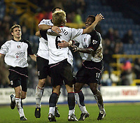 Picture: Henry Browne.<br /> Date: 04/02/2004.<br /> Fulham v Everton FA Cup Fourth Round Replay.<br /> <br /> Junichi Inamoto is congratulated by his team mates after scoring the first goal for Fulham.