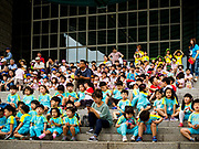 08 JUNE 2018 - SEOUL, SOUTH KOREA: Children watch a performance by South Korean honor guards at the War Memorial of Korea in Seoul, South Korea. With the near constant threat of invasion from North Korea, many South Koreans take great pride in the ability of their armed forces. Some observers believe there is a possibility that a peace agreement between South and North Korea could be signed following the Trump/Kim summit in Singapore. The War Memorial and museum opened in 1994 on the former site of the army headquarters to exhibit and memorialize the military history of Korea. When it opened in 1994 it was the largest building of its kind in the world. The museum features displays about the Korean War and many static displays of military equipment.    PHOTO BY JACK KURTZ