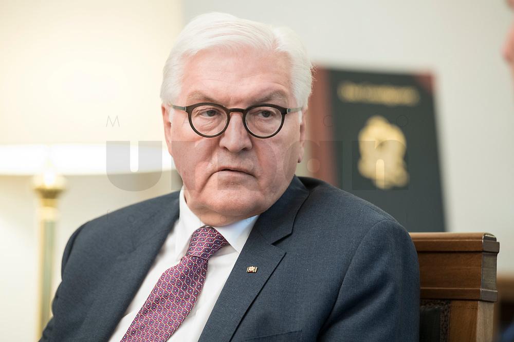 02 JUL 2018, BERLIN/GERMANY:<br /> Frank-Walter Steinmeier, Bundespraesident, waehrend einem Interview, Amtszimmer des Bundespraesidenten, Schloss Bellevue<br /> IMAGE: 20180702-01-017<br /> KEYWORDS: Bundespräsident