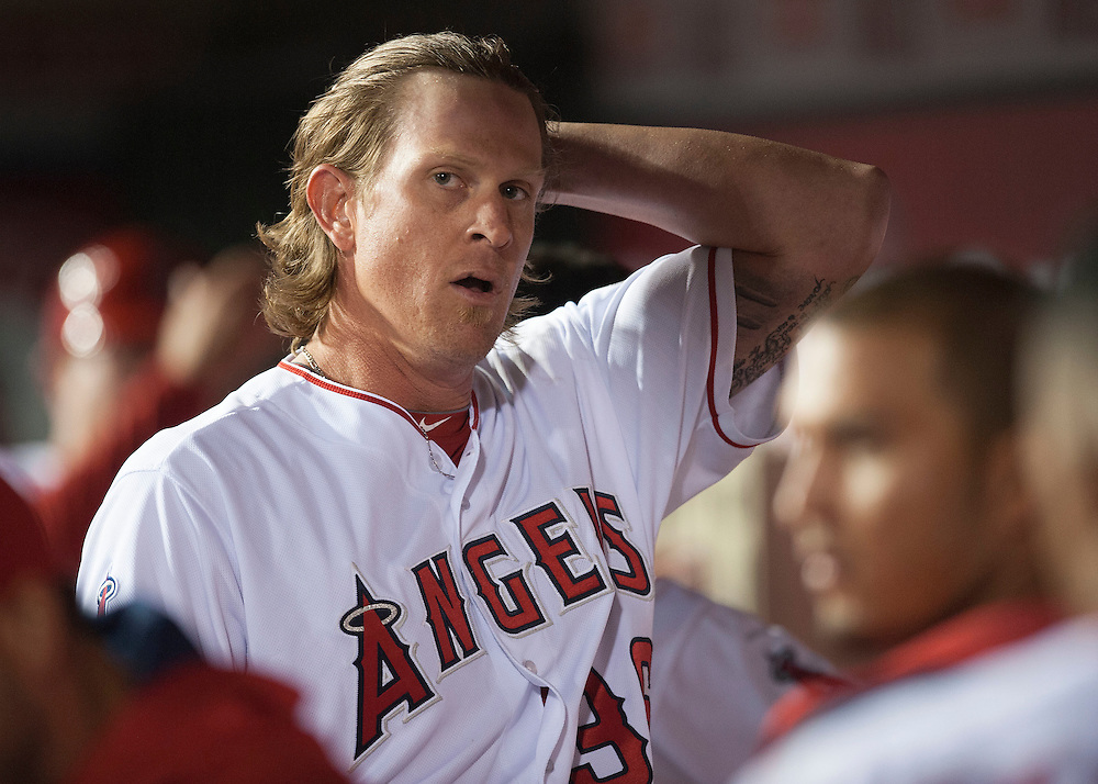 Angels' starting pitcher Jered Weaver exhales in the dugout after relinquishing the lead in the fourth inning against the Kansas City Royals Tuesday night at Angel Stadium.<br /> <br /> ///ADDITIONAL INFO:   <br /> <br /> angels.0427.kjs-pre  ---  Photo by KEVIN SULLIVAN / Orange County Register  --  4/26/16<br /> <br /> The Los Angeles Angels take on the Kansas City Royals Tuesday at Angel Stadium.<br /> <br /> <br />  4/26/16