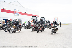 Gas stop during the Motorcycle Cannonball coast to coast vintage run. Stage 11 (248-miles) from Billings to Great Falls, MT. Tuesday September 18, 2018. Photography ©2018 Michael Lichter.