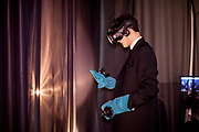 """Franz Kafka lookalike Marek Lentvorsky (21) experiences for the first time the installation """"VRwandlung"""" in which he virtually transforms into an insect, Goethe Institut Prag."""