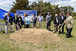 Groundbreaking Ceremony for the New Meigs Point Nature Center at Hammonasset Beach State Park. May 22, 2015. Shovels in hands.