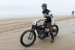 Scott Jones on his 1924 JDCA Harley-Davidson cutdown at TROG West - The Race of Gentlemen. Pismo Beach, CA, USA. Saturday October 15, 2016. Photography ©2016 Michael Lichter.